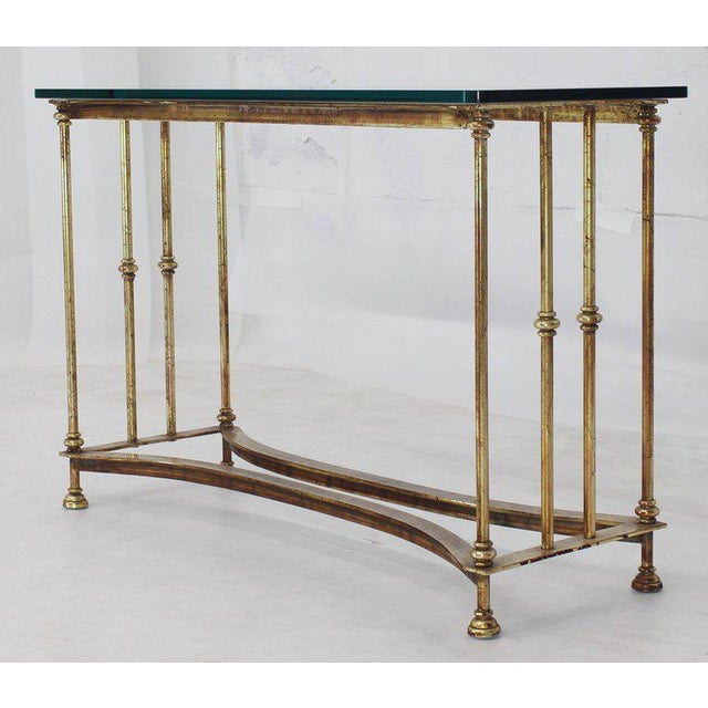 Empire Gold Gild Iron Base Glass Top Console Table For Sale - Image 3 of 9