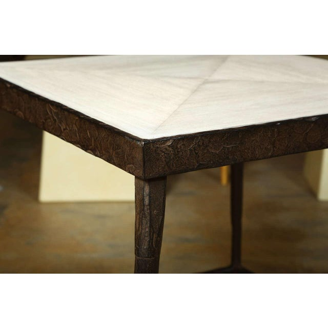 Customizable Paul Marra Iron and Douglas Fir Inset Side Table - Image 4 of 8