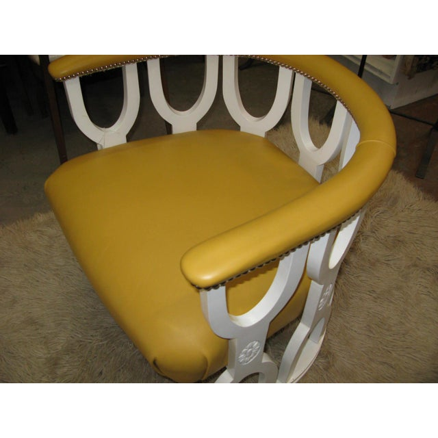 Fabulous Repurposed Vintage Leather Barrel Chair - Image 8 of 8