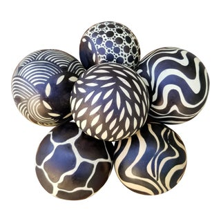 Hand Painted Gourd Balls - Set of 6 For Sale