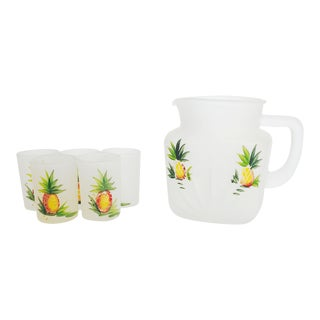 Vintage Frosted Pineapple Drink Set - Set of 6