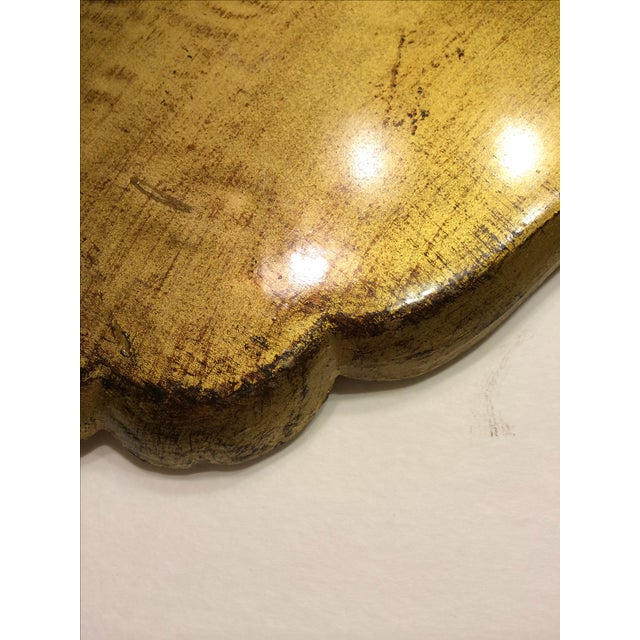 Vintage Florentine Craved Gold Leaf Orange Tray - Image 6 of 7