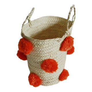 Moroccan Orange Pompom Basket For Sale