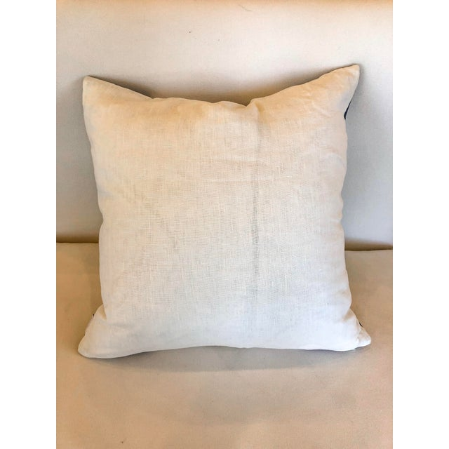 Contemporary White With Navy Geometric Print Pillow For Sale - Image 3 of 6