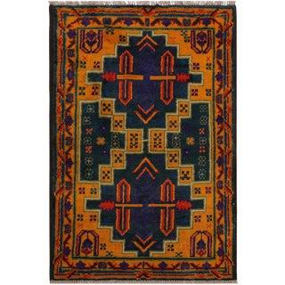1990s Southwestern Balouchi Fransisc Green/Orange Wool Rug - 2'9 X 4'1 For Sale