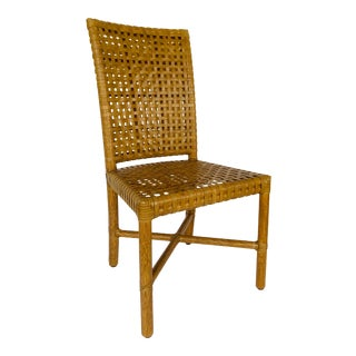 Baker McGuire Organic Modern Woven Rawhide Leather and Tan Rattan Dining Chair For Sale