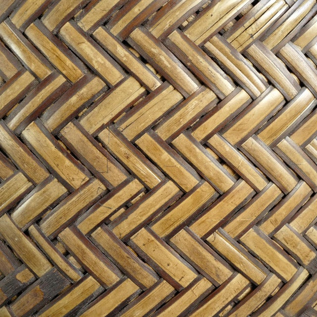 Mid 20th Century Bamboo Basket With Lid For Sale - Image 5 of 6