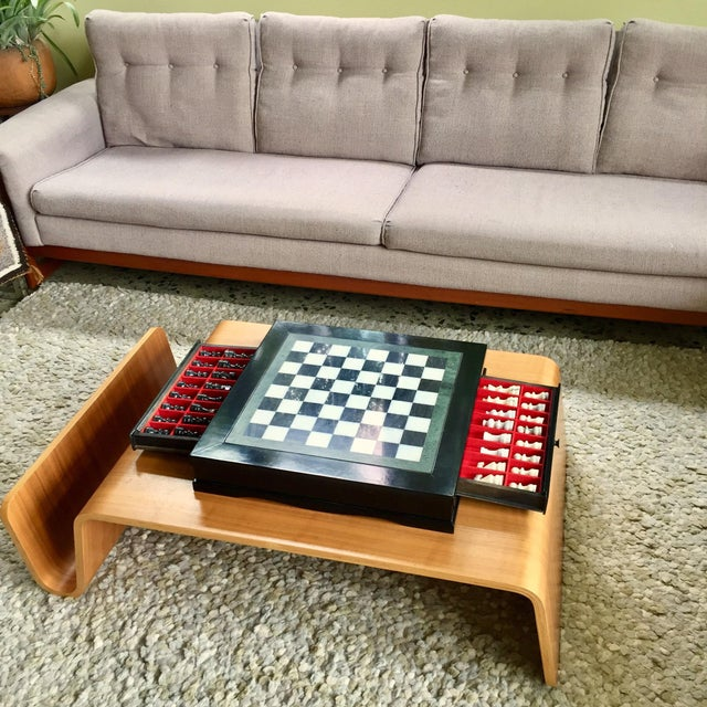 Vintage 70's Black Lacquer Box With Drawers and Inlay Marble Chess Board For Sale - Image 11 of 11