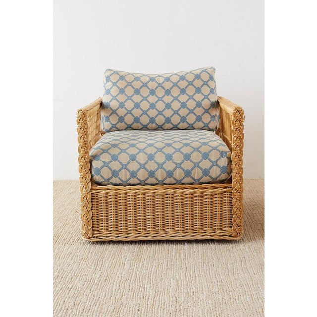 Pair of McGuire Rattan Wicker Lounge Chairs With Ottoman For Sale - Image 4 of 13