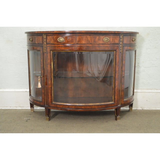Theodore Alexander Flame Mahogany Regency Style Demilune Curio Base Commode Console - Image 2 of 10