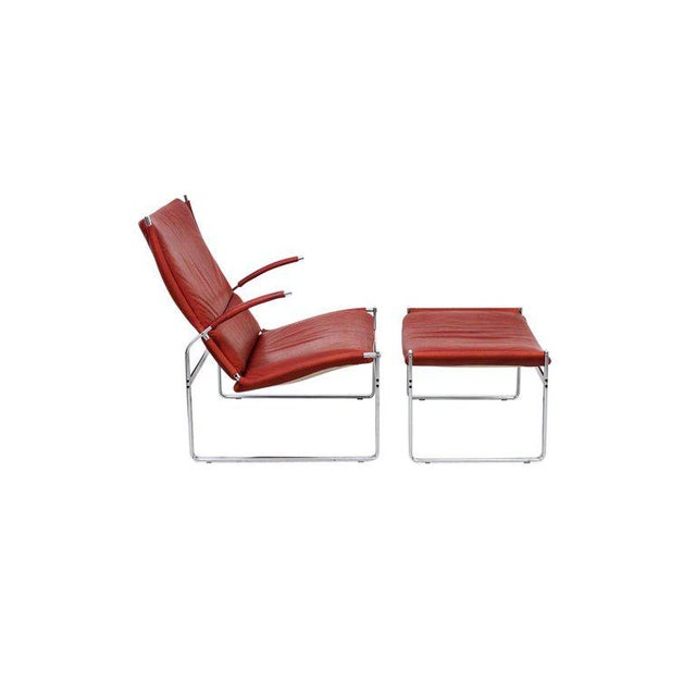 Alfred Kill International Preben Fabricius and Jorgen Kastholm Lounge Chair and Ottoman For Sale - Image 4 of 11