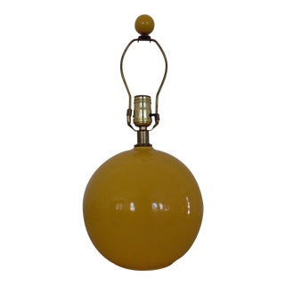 1970's Mustard Yellow Ceramic Orb Lamp For Sale
