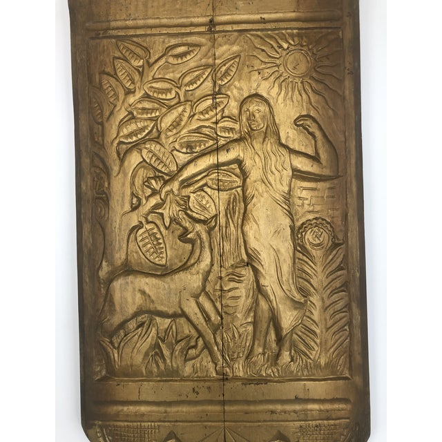 Art Deco Hand Carved Wall Sculpture With Gold leaf Paint. Hanging hardware on the back.