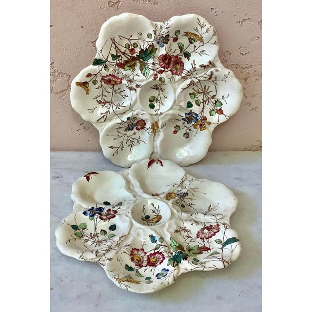 19th Century English Majolica Oyster Plate With Flowers Adderley For Sale - Image 4 of 8