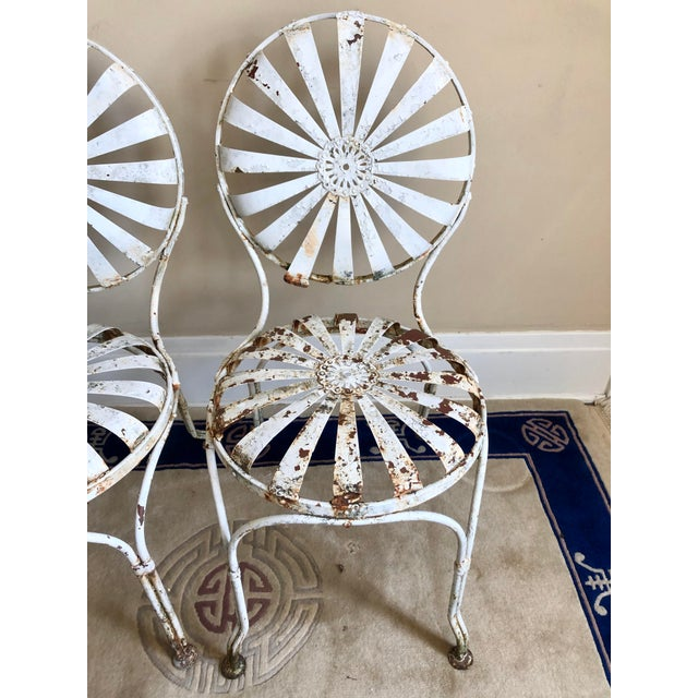 Francois Carre White Iron Sunburst Garden Chairs - a Pair For Sale In Buffalo - Image 6 of 13