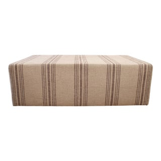 Modern Custom Made Natural Grainsack Style Upholstery Cube Ottoman For Sale