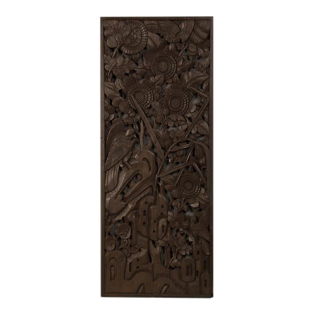 1900s Chinese Handsome Carved Birds And Foliage Motif Timber Panel For Sale