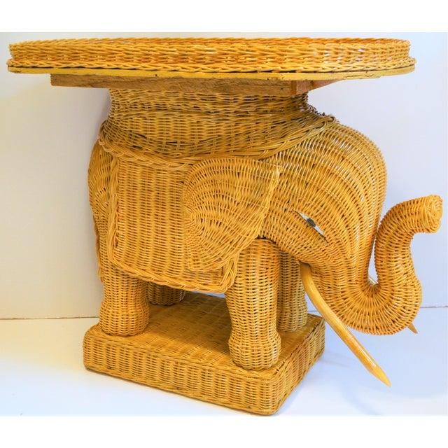 2000 - 2009 Boho Chic Wicker Rattan Elephant Tray Table (Final Markdown Taken) For Sale - Image 5 of 13