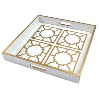 Manette White Lacquer Tray