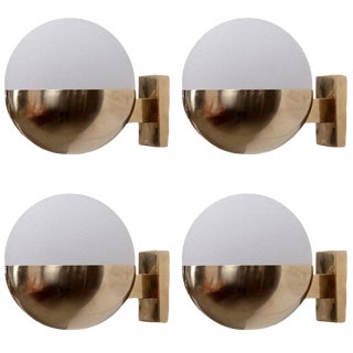 1 of 8 Brass and Satinized Glass Wall Lamps or Sconces in the Manner of Stilnovo For Sale