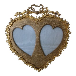 Vintage Gilt Metal Heart Picture Frame For Sale