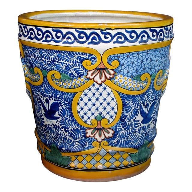 A massive and colorfully-glazed Mexican conical-form pot For Sale