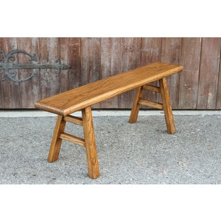 Vintage Raised Grain Elm Bench Preview