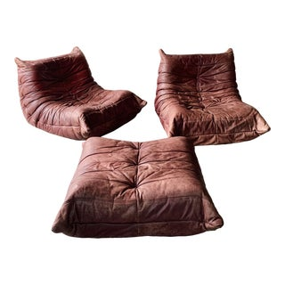 Leather Togo Chairs and Ottoman For Sale