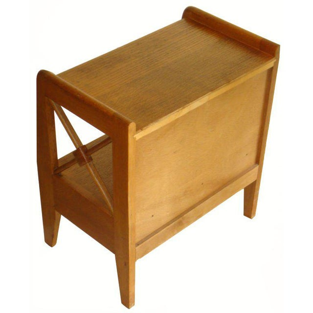 Mid-Century Modern Vintage 1950s Jacqurs Adnet Oak Night Stands - a Pair For Sale - Image 3 of 4
