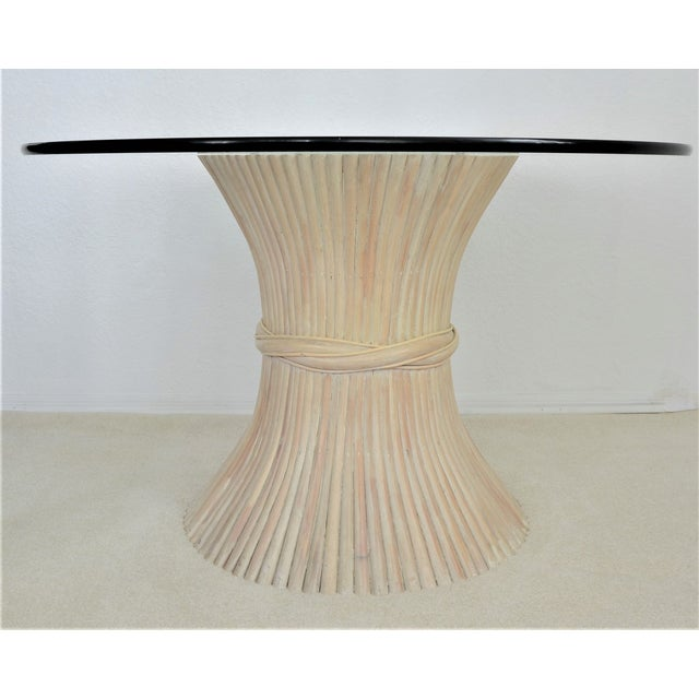 Contemporary McGuire Wheat Sheaf Bamboo Rattan Dining Table With Thick Round Glass Top Organic Mid Century Modern MCM Millennial For Sale - Image 3 of 11
