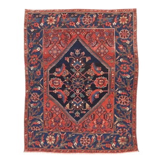 Antique Hand Made Heriz Persian Rug- 5′ × 6′10″ For Sale