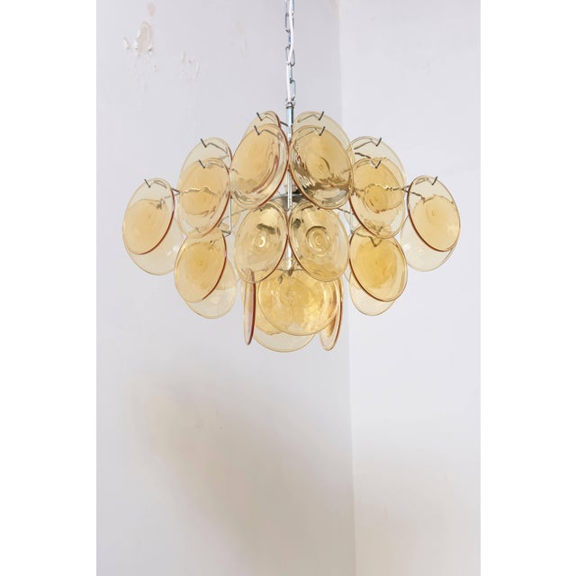 1960s Amber Glass Disc Vistosi Chandelier For Sale - Image 5 of 11