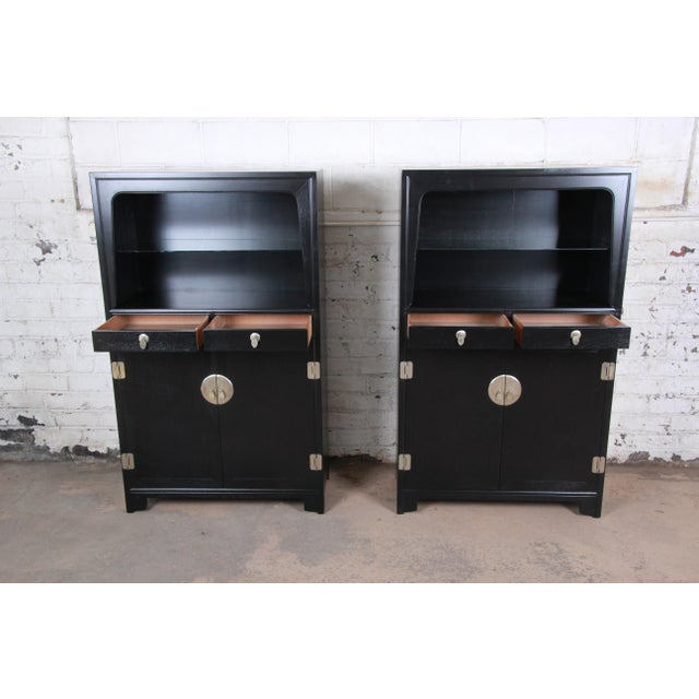 Wood Michael Taylor for Baker Far East Collection Ebonized Chinoiserie Wall Units, Pair For Sale - Image 7 of 13