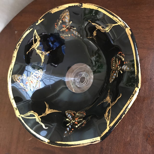 Vintage Glass Butterfly Decor Bowl For Sale In Los Angeles - Image 6 of 11
