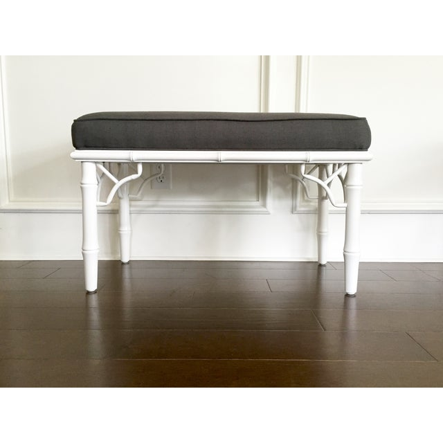 Chippendale Vintage Faux Bamboo Upholstered Bench For Sale - Image 3 of 9
