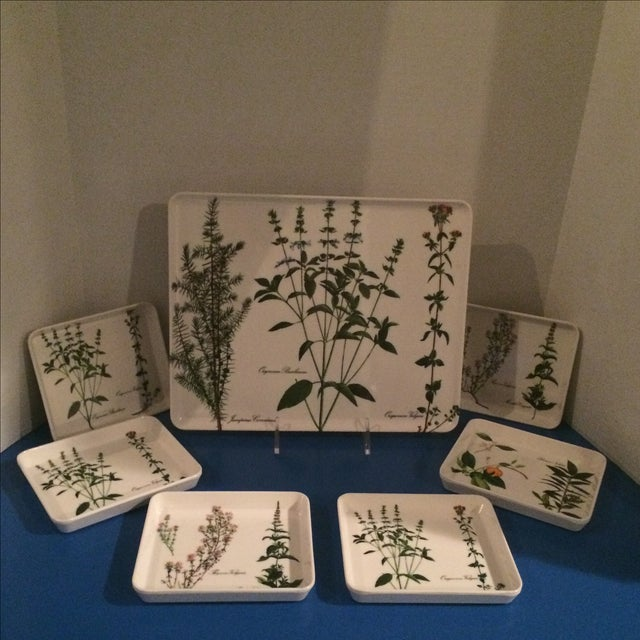 Italian botanical tray with 6 coordinating mini trays or coasters. Uber Wasp. Perfect pool house, powder room or bedroom...