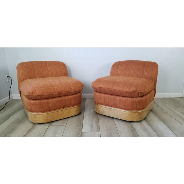 Mid-Century Modern Milo Baughman for Lane Burl Wood Base Slipper Lounge Chairs - a Pair For Sale - Image 3 of 12
