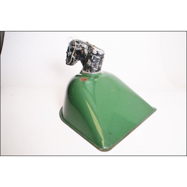 Vintage Industrial Large Green Enamel Light Fixture with Bracket - Image 5 of 11