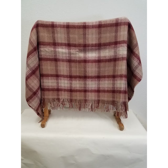 English Wool Throw Green, Red, Brown and White in a Plaid Design - Made in England For Sale - Image 3 of 11