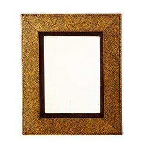 Brown Velvet Matted Golden Mirror For Sale