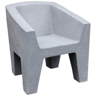 Zachary A. Design Gray Stone Cast Resin 'Van Eyke' Club Chair For Sale