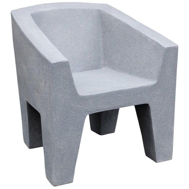 Zachary A. Design Gray Stone Cast Resin 'Van Eyke' Club Chair For Sale