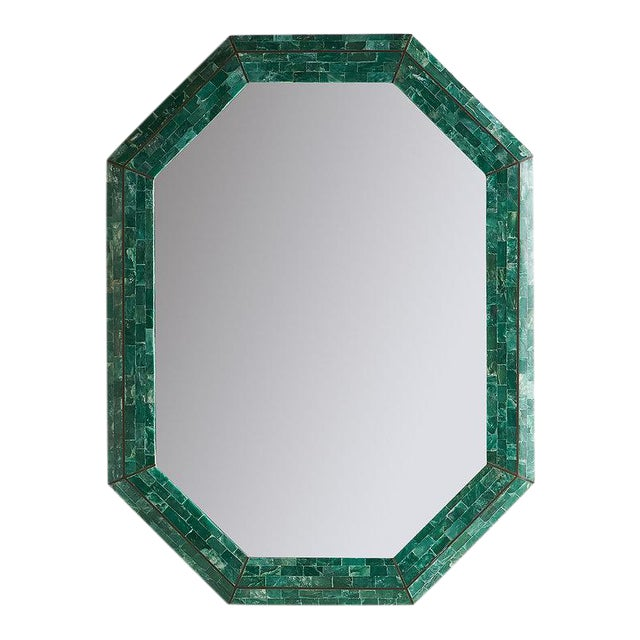 Tessellated Green Marble Mirror by Maitland Smith For Sale