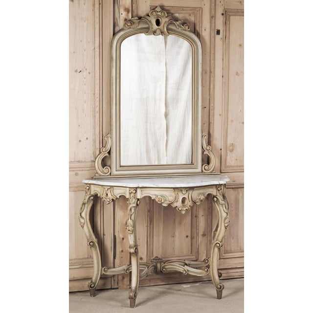 Hailing from the master artisans of Venice, this 19th Century Italian Hand Painted Console and Mirror with Cararra Marble...