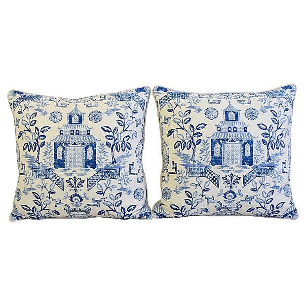"Custom Blue & White Chinoiserie Feather/Down Pillows 26"" Square - Pair For Sale - Image 10 of 13"