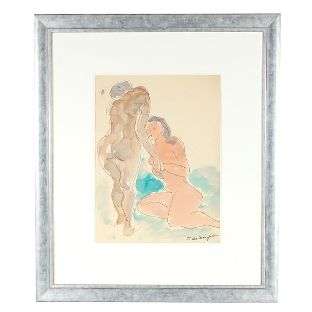 Mid Century Watercolor Painting - Figures - Image 1 of 3