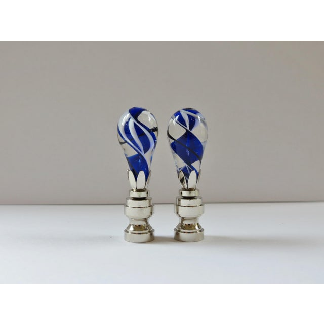 Cobalt Swirl Blown Glass Finials - a Pair - Image 2 of 4