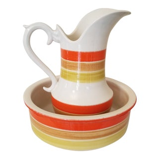 Vintage Italian Ceramic Pitcher and Wash Bowl - a Pair For Sale