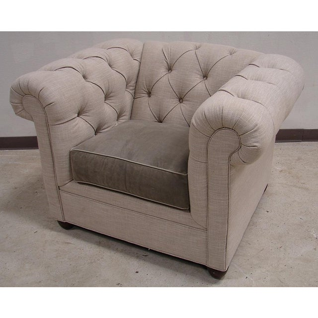 Chesterfield Style Tufted Linen Arm Accent Chair - Image 2 of 4