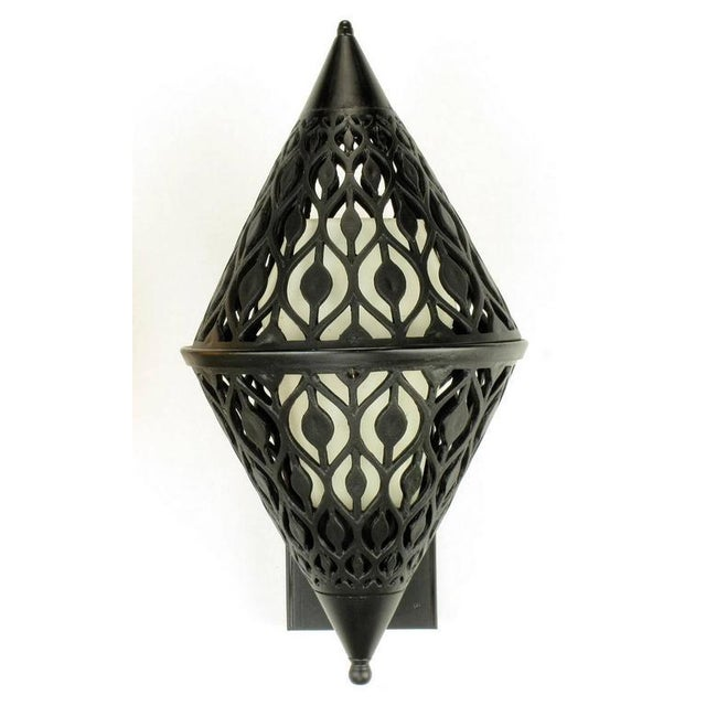 Pair of Black Enamel Pierced Diamond Sconces with Internal Milk Glass Shades For Sale In Chicago - Image 6 of 9